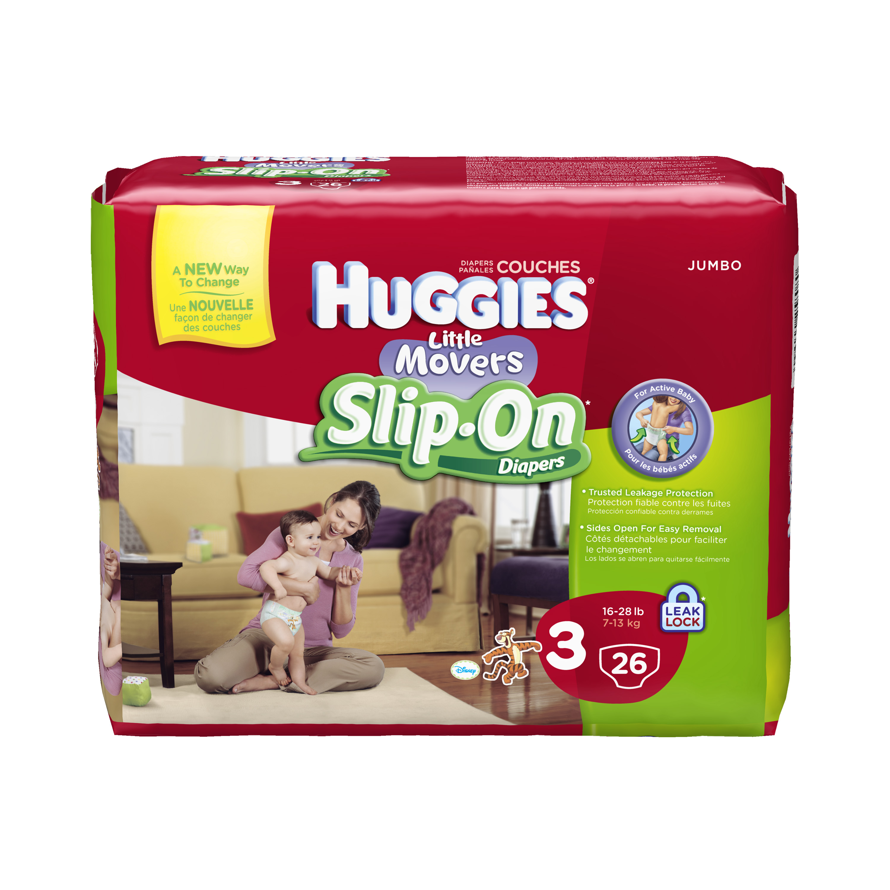 Little Movers® Diaper Pants slip on and off for faster changes. These slip-on diapers feature convenient finger tabs for quick and easy removal. Available in diaper sizes 3 - 6.
