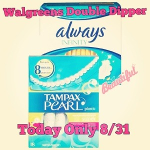 Double Dipper at Walgreens on Tampax Tampons and Always Pads